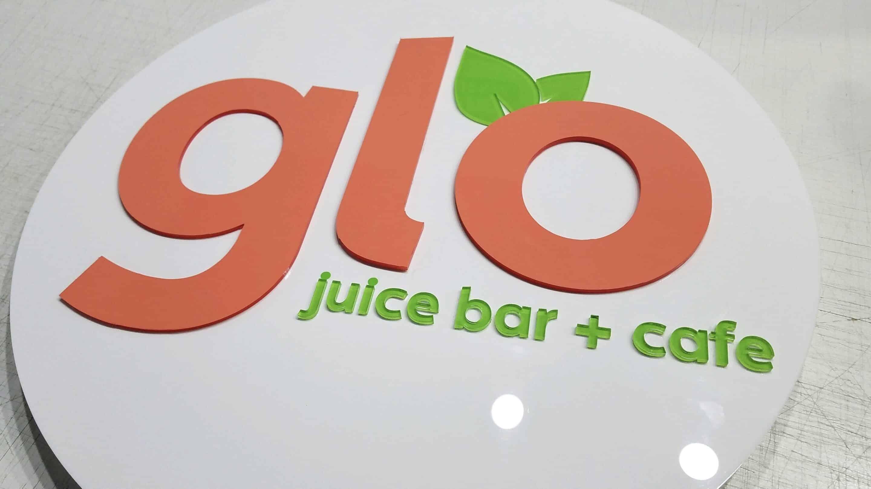 glo juice bar acrylic signage